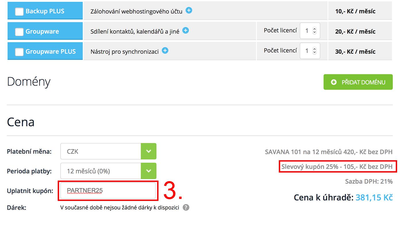 Jak aktivovat slevový kupón Savana.cz