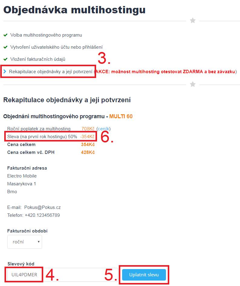 Jak aktivovat slevový kupón na SvetHostingu.cz