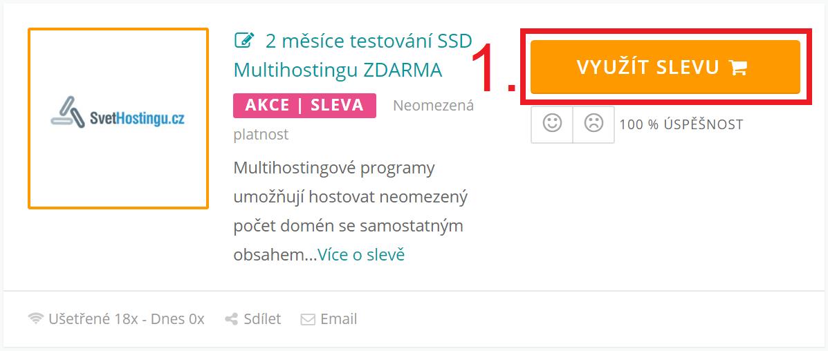 Jak uplatnit slevu na SvetHostingu.cz