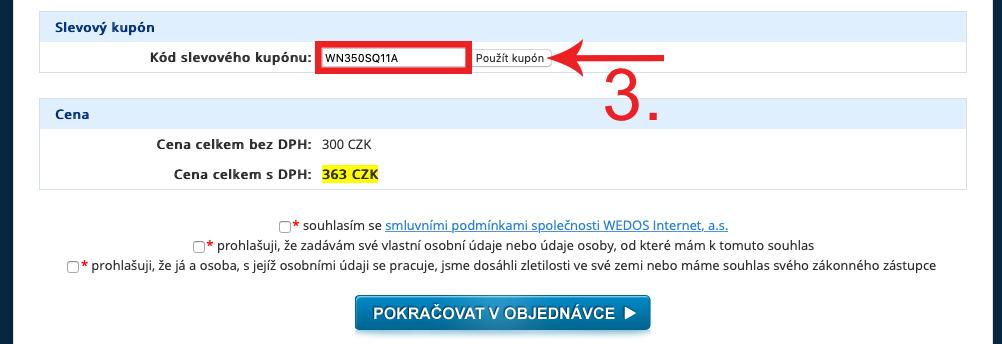 Jak použít WEDOS kód