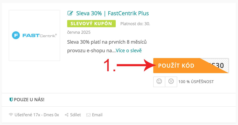 Jak použít slevový kupón Fastcentrik.cz