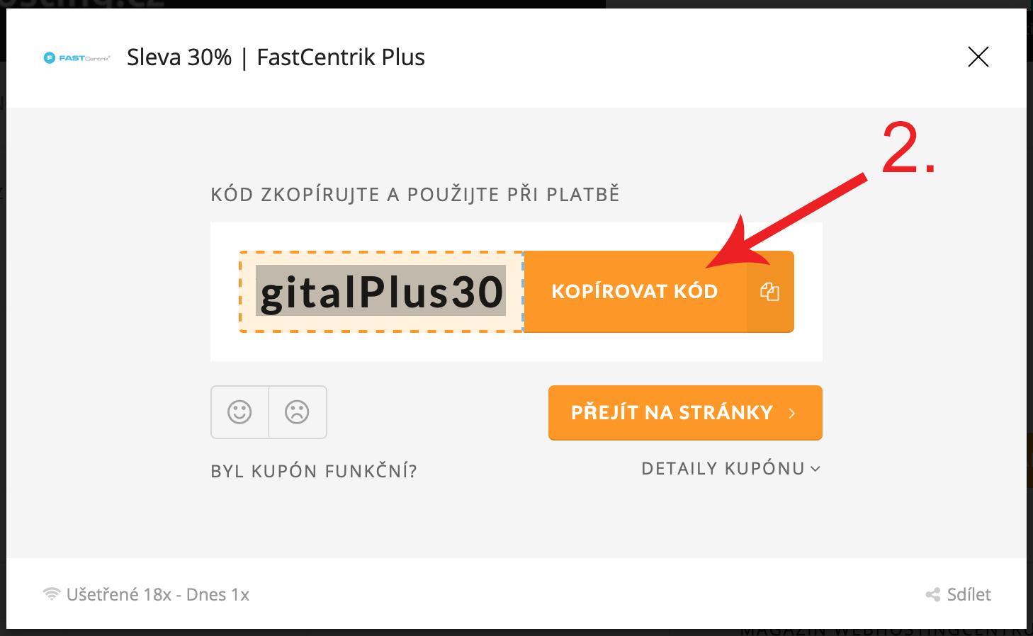 Jak uplatnit promo kupón Fastcentrik.cz