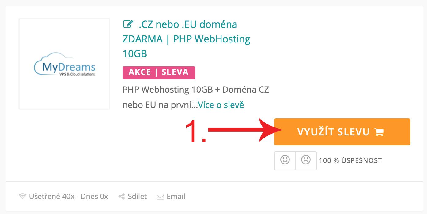 Jak uplatnit slevu na MyDreams.cz